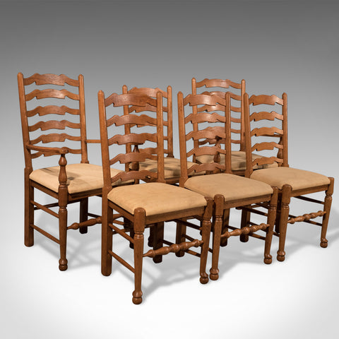 Antique Set 6 inc Carvers Oak Ladder back Kitchen Dining Chairs Lancashire 20th Century