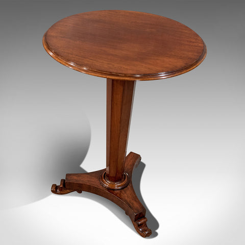Antique English Regency Quality Mahogany Wine Lamp Tripod Table c1830