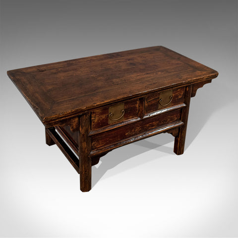 Antique Coffee Magazine Low Table With Storage Drawers Oriental Mid-20th Century