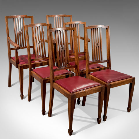 Antique Set 6 Mahogany & Leather Dining Chairs Sheraton English Edwardian c1910