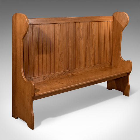 Antique 6' Settle Bench Pew Tavern Hall Seat Solid Oak Quality Mid 20th Century - Antique & Unique