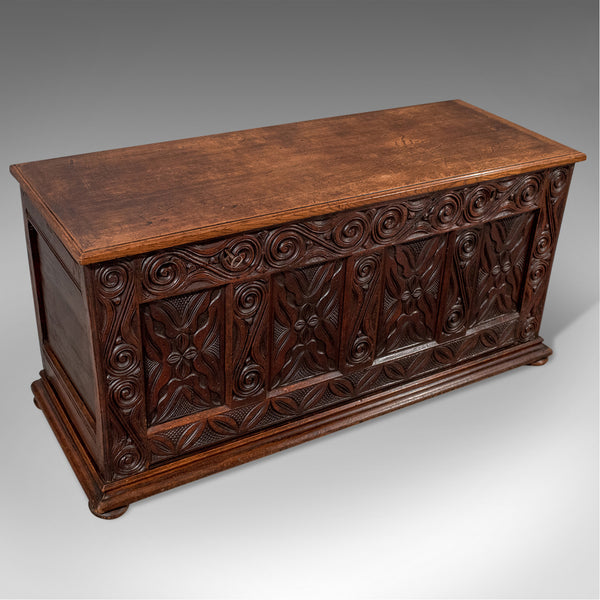 Antique Oak Carved Coffer Chest Storage Trunk With Fitted Interior English c1750