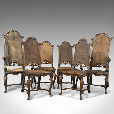 Fine Antique Set of Six Walnut Bergere Cane Chairs By Liberty of London c1880