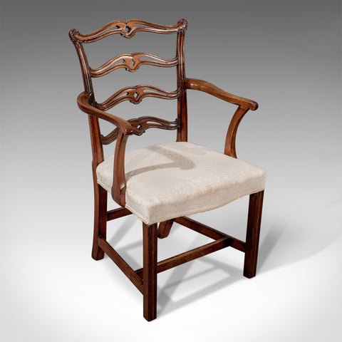 Antique Carver Elbow Chair Armchair Mahogany Irish Chippendale Georgian c1800