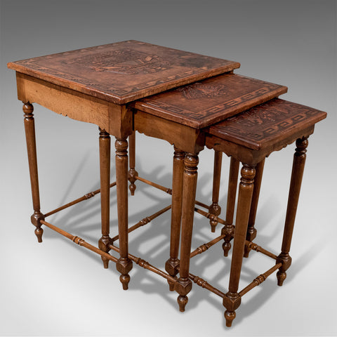 Antique Nest Of Side Tables Embossed Bolivian Inca Leather Tops Edwardian c1910