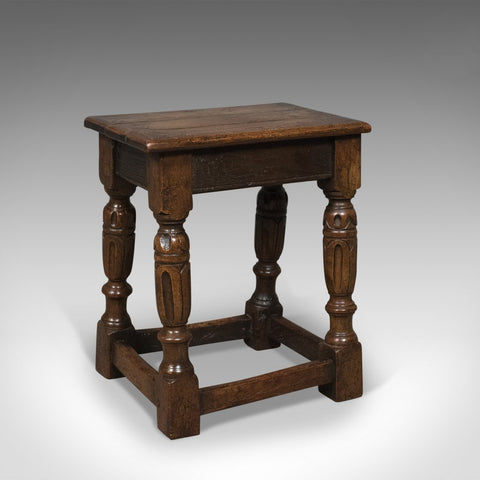 Antique Joint Stool, English Oak, Late Georgian Circa 1800
