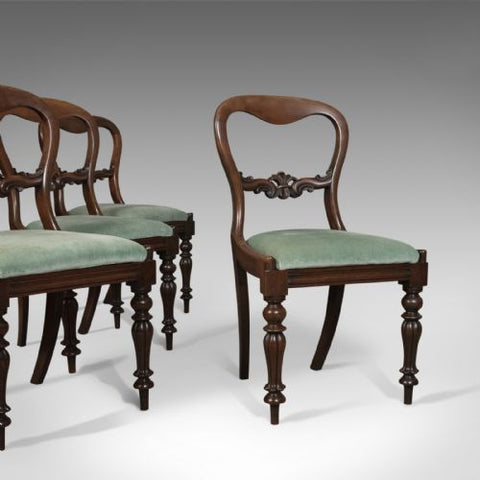 Antique Set of Four Antique Dining Chairs, English, Buckle Back, Mahogany Circa 1835