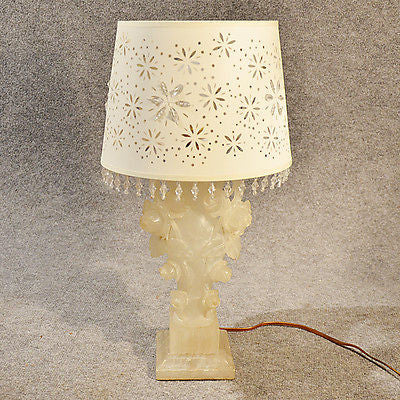 Table Side Lamp Italian Art Deco Alabaster Marble Vintage c1930