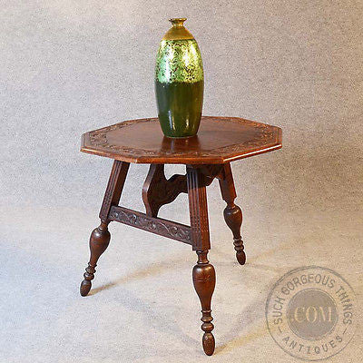 Antique Dutch Friesland Oak Folding Ships & Tavern Campaign Table Carved c1880