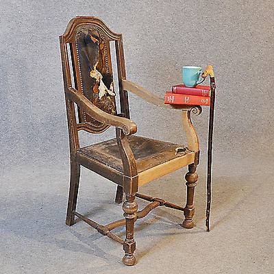 Antique Armchair English Oak & Leather Carver Quality Large Chair c1850 - Antique & Unique