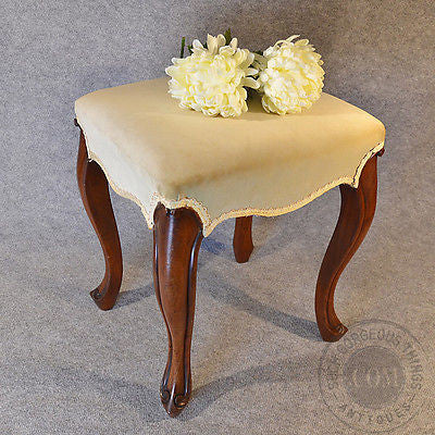 Antique Dressing Stool Footstool Upholstered Seat Cabriole Leg English c1850