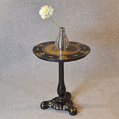 Antique Table Ebonised Papier Mache Mother of Pearl Side Lamp Wine Tilt c1870