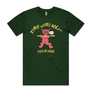 Tyne-James Organ Cat T-Shirt (Forest Green)