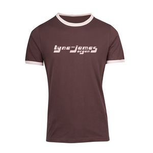 Tyne-James Organ Retro Ringer T-Shirt (Brown/Bone)