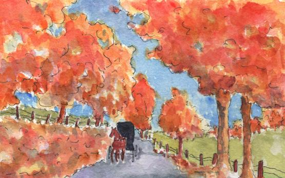 """Autumn Buggy Ride"" Watercolor Painting"