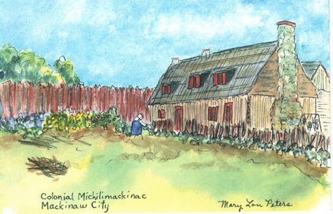 """Colonial Michilimackinac"" Watercolor Painting"