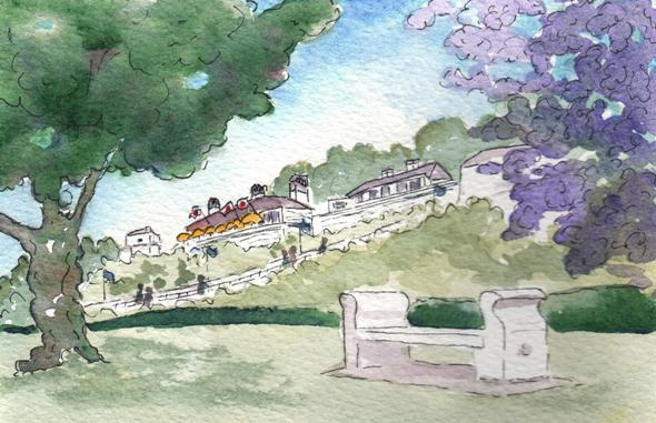 """Fort Mackinac from Marquette Park"" Watercolor Painting"
