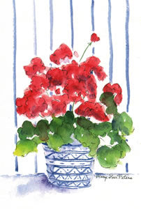 Geranium with Striped Wallpaper