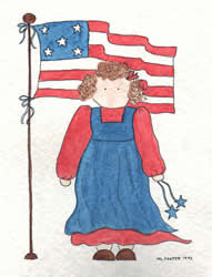 Patriotic: Girl and Flag
