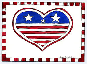 Patriotic: Heart Flag