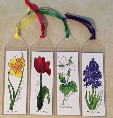 Spring Flower Bookmarks (set of four)