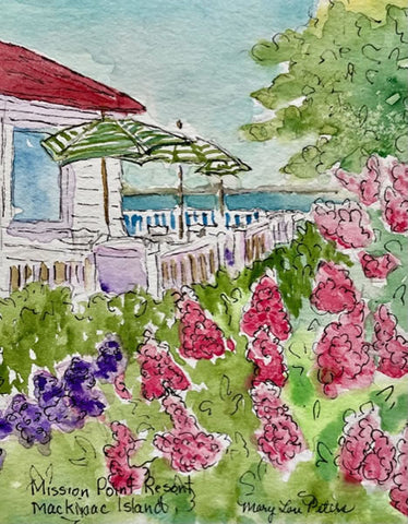 """Mission Point Umbrellas and Hydrangeas"" Watercolor Painting"