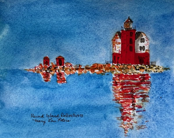 """Round Island Reflections"" Watercolor Painting"