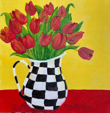 """Red Tulips? Check!"" Acrylic Painting"