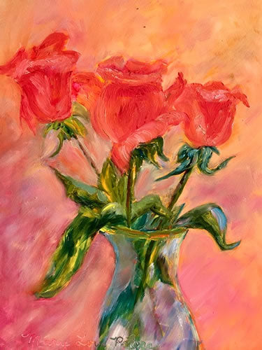 """Three Roses"" Oil Painting"