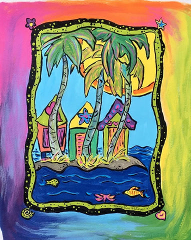 """Tropical Cottages"" Acrylic Painting"
