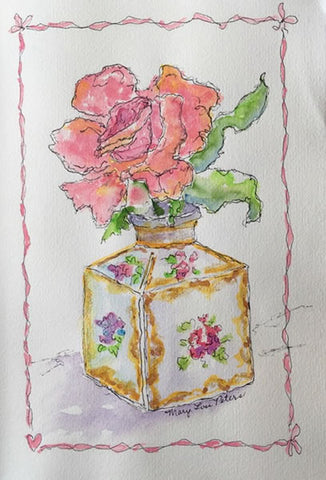 Antique French Vase with Rose