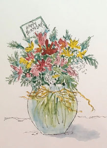 """Happy Birthday Bouquet"" Watercolor Painting"