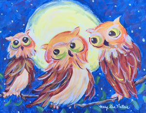 """Happy Owls"" Acrylic Painting"