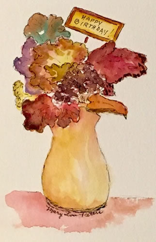 """Happy Birthday-Autumn"" Watercolor Painting"