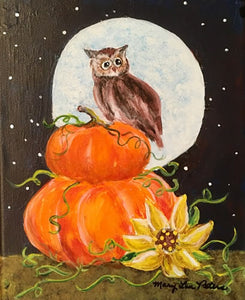 """Owl and Pumpkins"" Acrylic Painting"