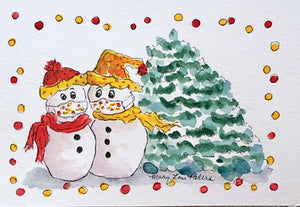"""Masked Snowmen"" Watercolor Painting"