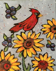 """Cardinal and Sunflowers"" Acrylic Painting"