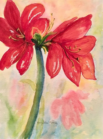 """Amaryllis"" Watercolor Painting"