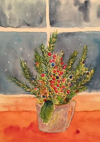 """A Cup Full of Greens"" Watercolor Painting"