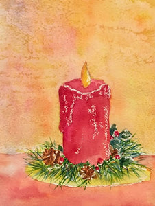 """Candle Glow"" Watercolor Painting"