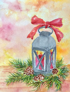 """Candle and Lantern"" Watercolor Painting"