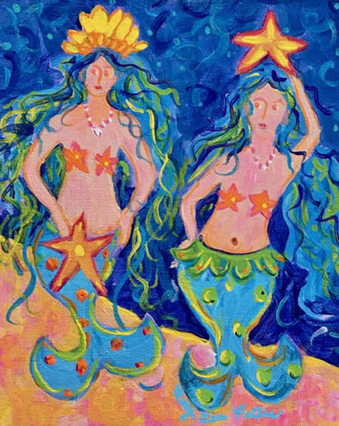 """Two Mermaids"" Acrylic Painting"