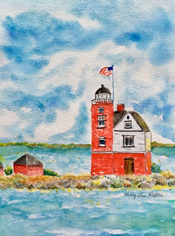 """Round Island Lighthouse"" Watercolor Painting"