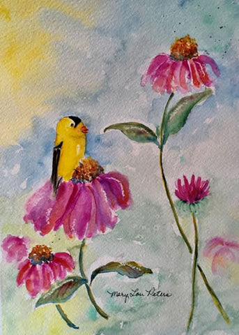 """Coneflower and Finch"" Watercolor Painting"