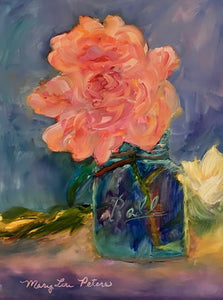"""Single Peony"" Oil Painting"