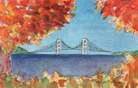 """Mackinac Bridge in Autumn"" Watercolor Painting"
