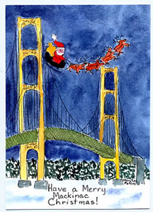 Christmas: Santa over Bridge