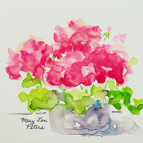 """Little (Pink) Geraniums"" Watercolor Painting"