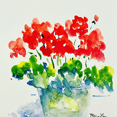 """Little (Red) Geraniums"" Watercolor Painting"