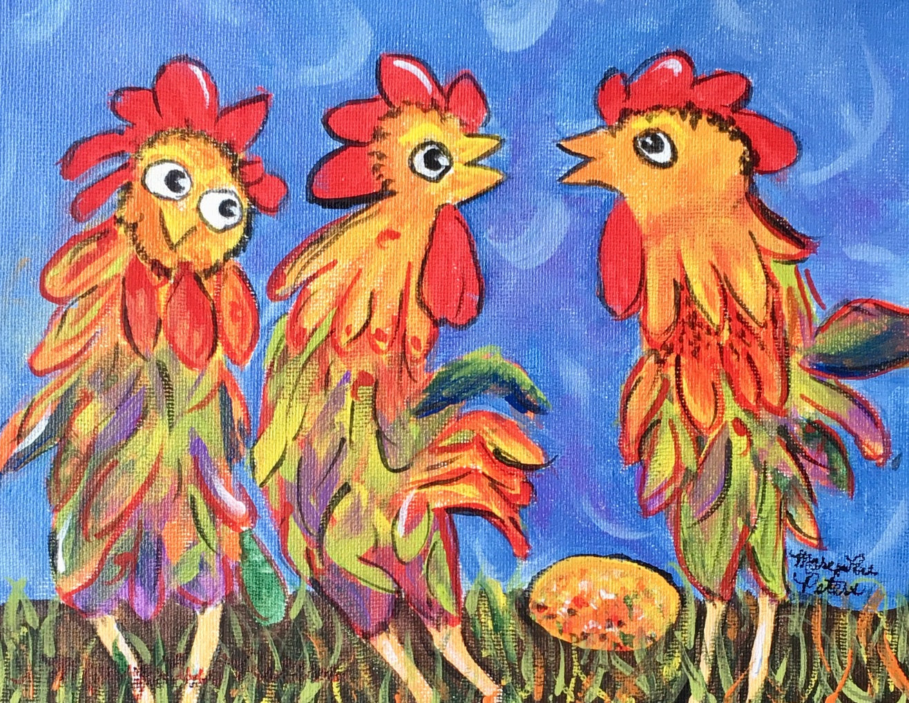 """Rooster Talk"" Acrylic Painting"